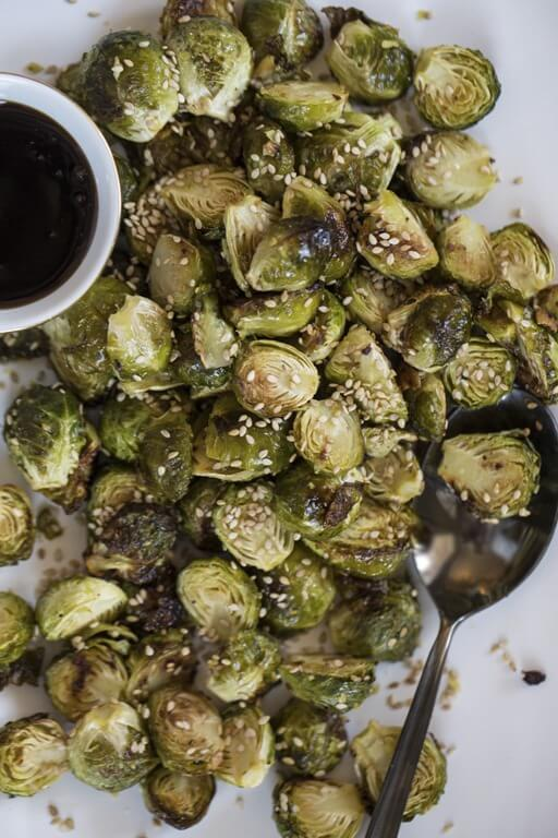 healthy vegan beginner recipes - brussel sprouts from Oh Shel Glows